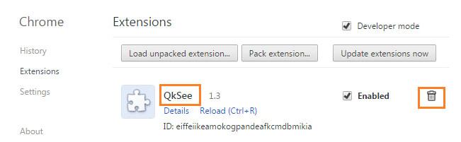 Как удалить QkSee из браузера